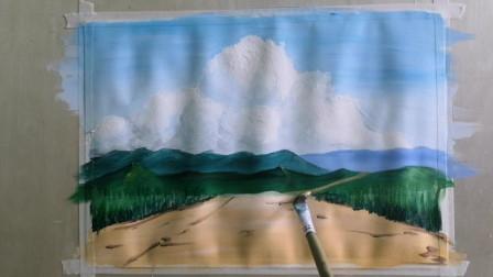小清新的水粉丙烯画教程,蓝天白云和远山,画的就是这么简单