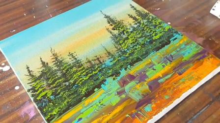 手工绘画教程,树林抽象画的制作方法,简单又漂亮!