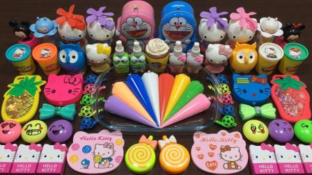KT猫+机器猫+水果+文具+彩虹泥等50多种无硼砂材料做史莱姆