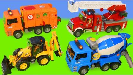 挖掘机拖拉机混凝土搅拌车玩具拆箱
