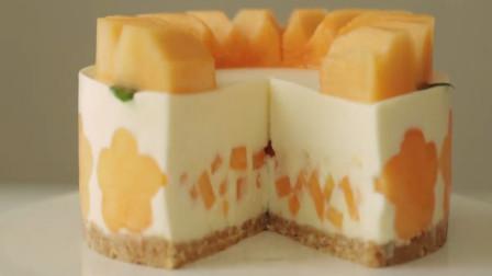 哈密瓜新吃法,做成水果蛋糕吃,这成品,卖相极佳