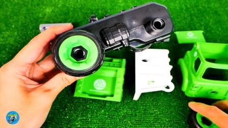 惯性玩具组装绿色清洁车,自卸车小汽车玩游戏,亲子互动悠悠玩具城