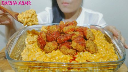 """韩国ASMR吃播:""""芝士通心粉+油炸虾仁"""",欧尼吃得真香,真馋人"""