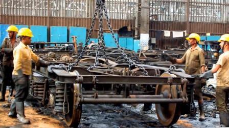 报废的火车转向架,拆解全过程,三下五除二就搞定了