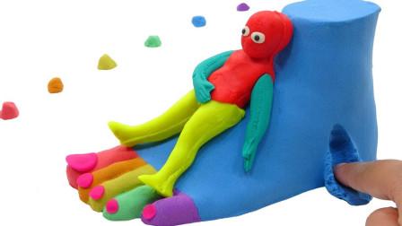 彩泥手工DIY制作大肚子的外星人 太累了坐在太空沙做的脚丫上