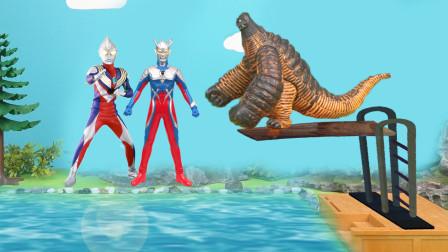 奥特曼怪兽跳水大赛!迪迦得了二分!雷德王是冠军!