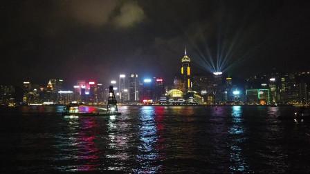 晚上八点 香港维多利亚港灯光秀现场实拍