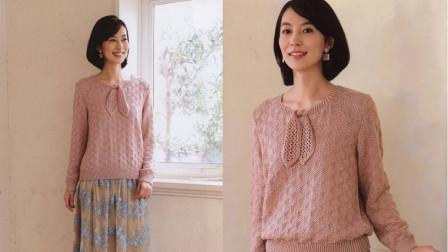 系带针织衫花样的编织方法,简单的上下针,简洁的菱格,你也会毛线编织图案