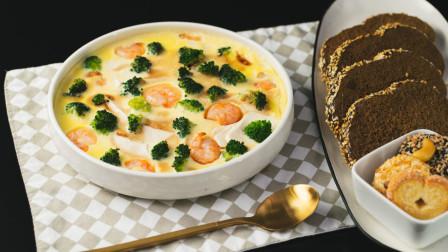 10分钟搞定一碗细滑香嫩的减脂虾仁西兰花豆腐蒸蛋!