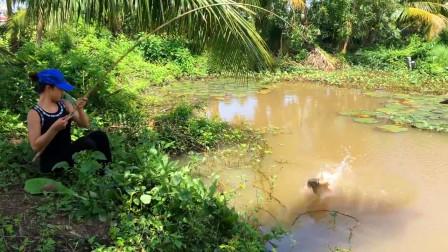 河里有鱼,农村姑娘出来抛几杆,看看她钓了多少?