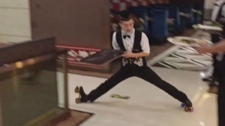 神操作!西宁服务员穿滑板鞋传菜