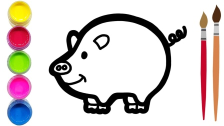 童谣和可爱的 小猪佩奇 绘图着色着色书着色页