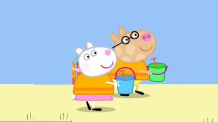 小猪佩奇好朋友一起在沙滩上玩耍 简笔画