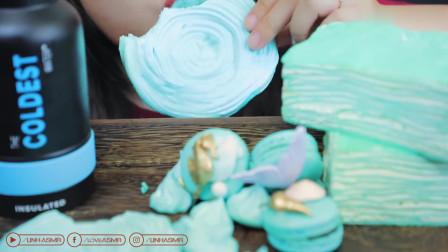 小姐姐吃千层蛋糕配马卡龙,颜色挺好看,还很好吃啊