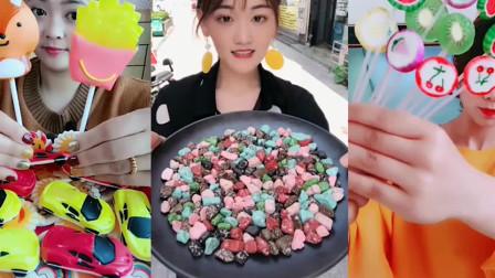 小姐姐吃彩色薯条巧克力、奶油、棒棒糖真想吃一口