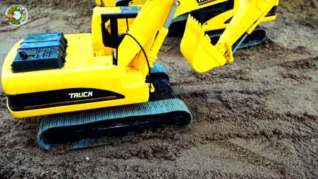 仿真挖掘机救援沙堆里的小汽车和工程车玩具,儿童车辆玩具