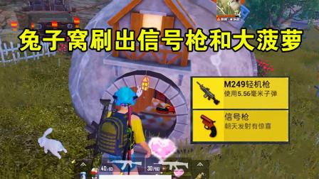 和平精英:在兔子窝找礼物可以获得信号枪,还有空投武器拿!