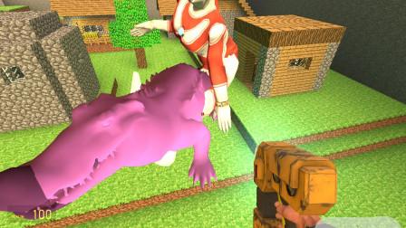 GMOD游戏,紫色的鳄鱼和杰克奥特曼出现在了村长家门口要干嘛呀?