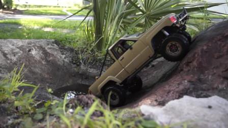 土豪专属玩具系列之:丰田四驱RC皮卡车户外越野测试,玩具控表示没看够