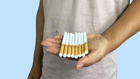 空手连续变出香烟!想来多少就来多少,学会骗朋友玩玩