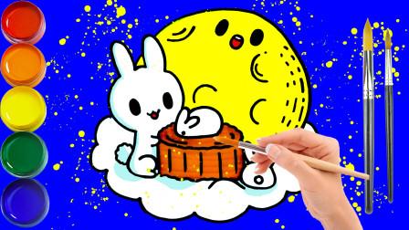 波比简笔画:教你如何画月饼,认识颜色学习英语,儿童轻松学画画