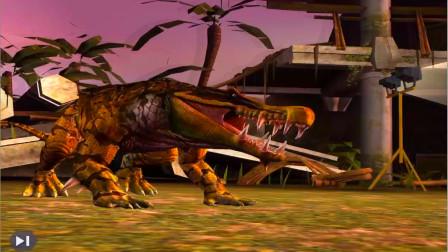 恐龙公园侏罗纪世界224期 霸王龙养成游戏乳白天空出现了袋狮大战额尔登巨犀