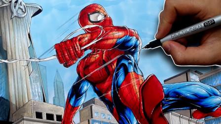 手绘漫威漫画风格的友好邻居蜘蛛侠!