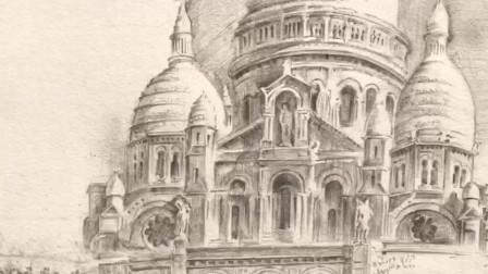 北京艺方学员朱淑红速写作品《巴黎圣心院》风景速写绘画#风景速写##北京艺方速写培训#