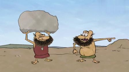 疯狂原始人:绿裤衩点不着篝火,气的把石头一扔,居然篝火就着了