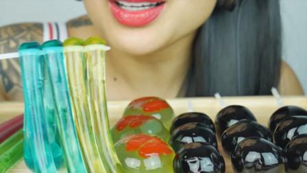 各种造型的果冻吃起来真舒服,果冻面条吸着吃,巨峰葡萄果冻一口一个