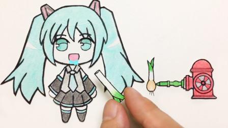手绘定格动画:初音未来,这把注水大葱好吃吗?每一秒都好有趣