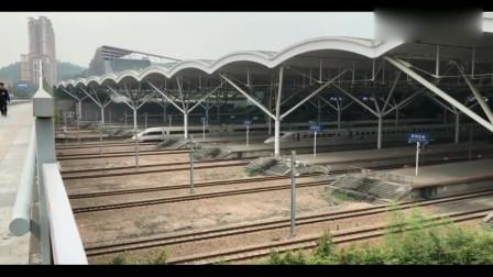 实拍深圳站高铁出站瞬间,一条蜿蜒的白色巨龙