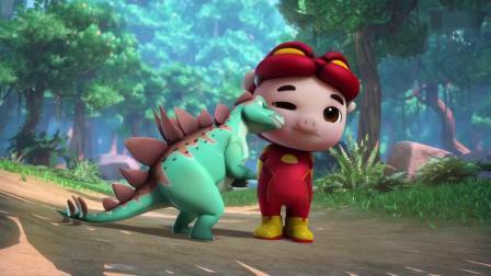 剑龙攻击猪猪侠,猪猪侠和阿五逃跑了,结果剑龙宝宝跟着他们!