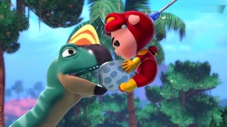 阿五抓住了猪猪侠,恐龙也咬住了他,结果猪猪侠把恐龙蛋弄坏了!