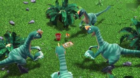 猪猪侠:猪猪侠和阿五围着恐龙蛋说话,结果被恐龙给围住了!