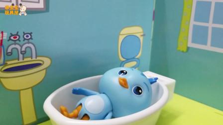 《萌鸡小队》小故事,欢欢洗澡的时候不要睡觉哟!