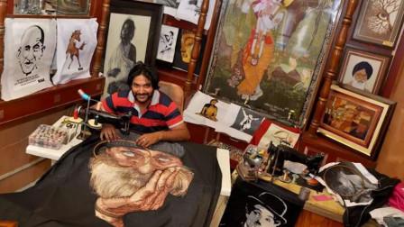 印度小伙用缝纫机作画,成为了当地有名的艺术家,太有才了!