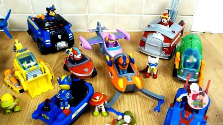旺旺工程车队,巡逻队套装玩具,黄色装载车,小飞机小船车,儿童玩具亲子互动