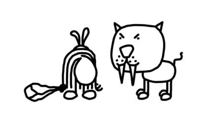 搞笑铅笔画小人:小野人如何捕捉动物