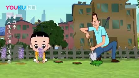 父子俩在毛叔家门前种下了薰衣草花,小头爸爸还制作了一个木马!