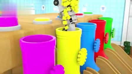工程车在在彩色管道里变色 认识颜色