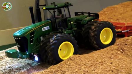 仿真超级托运大卡车,水泥搅拌车、挖掘机和装载车自卸车玩具
