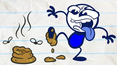 搞笑铅笔画小人:人要是倒霉,喝凉水都会塞牙?