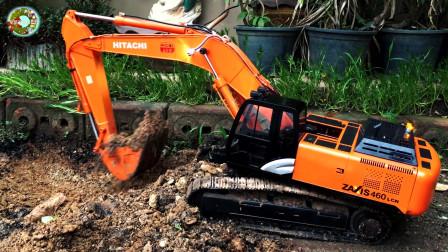 儿童仿真挖掘机玩具,户外挖掘泥土和沙石玩具,楚楚亲子游戏