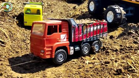 自卸王大卡车和挖掘机装载车装载泥浆和砖块玩具,儿童车辆玩具