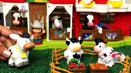 儿童小农场动物玩具,大花牛吃水果,大公鸡山羊,农场拖车运来饲料,儿童玩具亲子互动