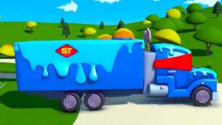 儿童工程车动画 超级变形卡车帮助冰激凌车制作超大蛋糕