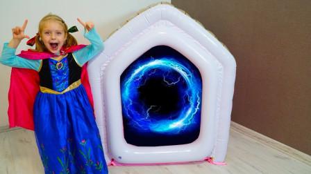 太意外了!萌宝小萝莉进入魔法屋后变成安娜公主?趣味玩具故事