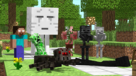 我的世界MC动画:怪物学校《课外活动》,学校全员到齐,蜘蛛没有逃课!