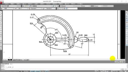 CAD练习图教学,能学会br打断圆弧的使用技巧,CAD小白也能学会哦